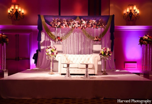 Indian wedding reception floral decor in Huntington Beach, CA Indian Wedding by Harvard Photography