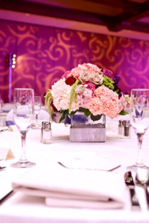 Indian wedding reception floral in Huntington Beach, CA Indian Wedding by Harvard Photography