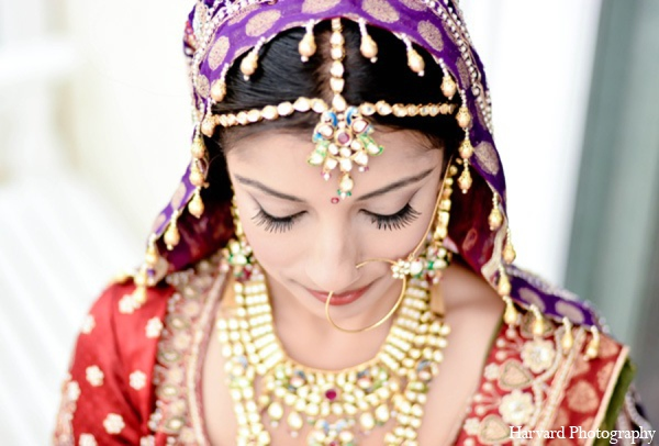 Indian bride tradition jewlry in Yorba Linda, CA Indian Fusion Wedding by Harvard Photography