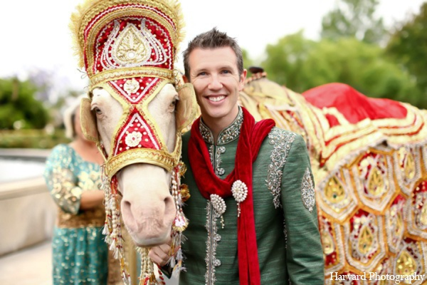 Indian wedding baraat horse in Yorba Linda, CA Indian Fusion Wedding by Harvard Photography