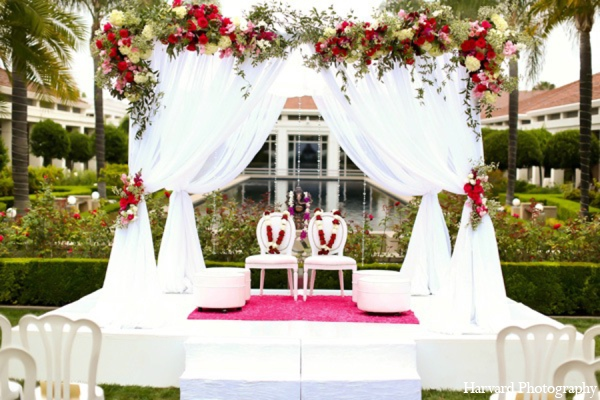 Indian wedding mandap in Yorba Linda, CA Indian Fusion Wedding by Harvard Photography