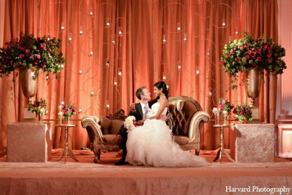 Indian wedding reception floral in Yorba Linda, CA Indian Fusion Wedding by Harvard Photography
