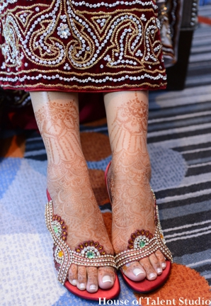 Indian wedding bridal henna shoes lengha in Huntington, New York Indian Wedding by House of Talent Studio