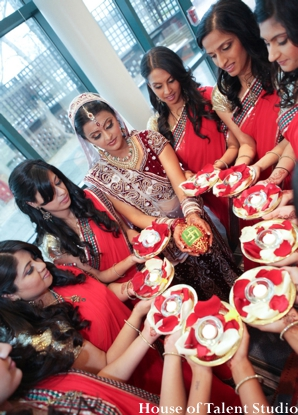 Indian wedding bride bridal party lenghas in Huntington, New York Indian Wedding by House of Talent Studio