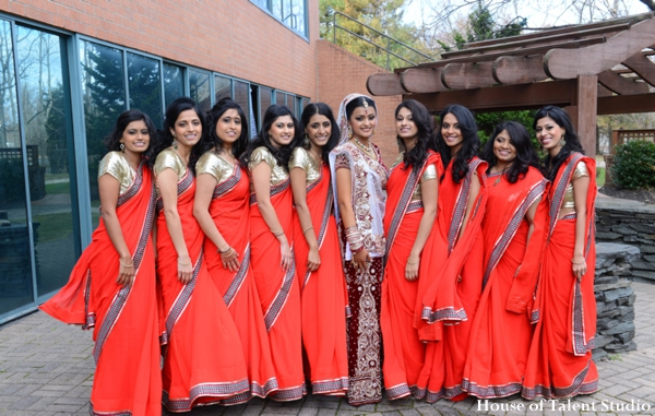 Indian wedding bride bridesmaids lenghas in Huntington, New York Indian Wedding by House of Talent Studio