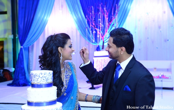 blue,cakes and treats,House of Talent Studio,indian wedding reception,indian wedding cake,inspiration for wedding cake,reception wedding lighting