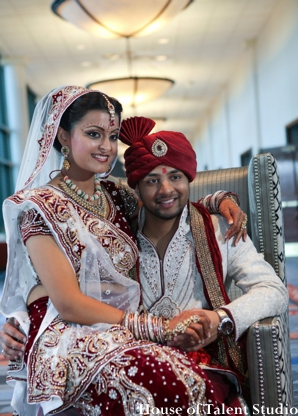 Indian wedding bride groom lengha portrait in Huntington, New York Indian Wedding by House of Talent Studio
