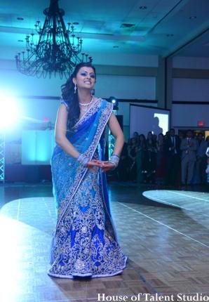 Indian wedding bride lengha dance floor in Huntington, New York Indian Wedding by House of Talent Studio