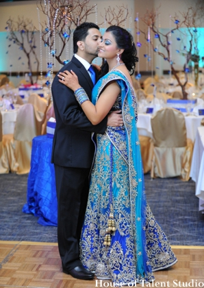Indian wedding bride lengha groom in Huntington, New York Indian Wedding by House of Talent Studio