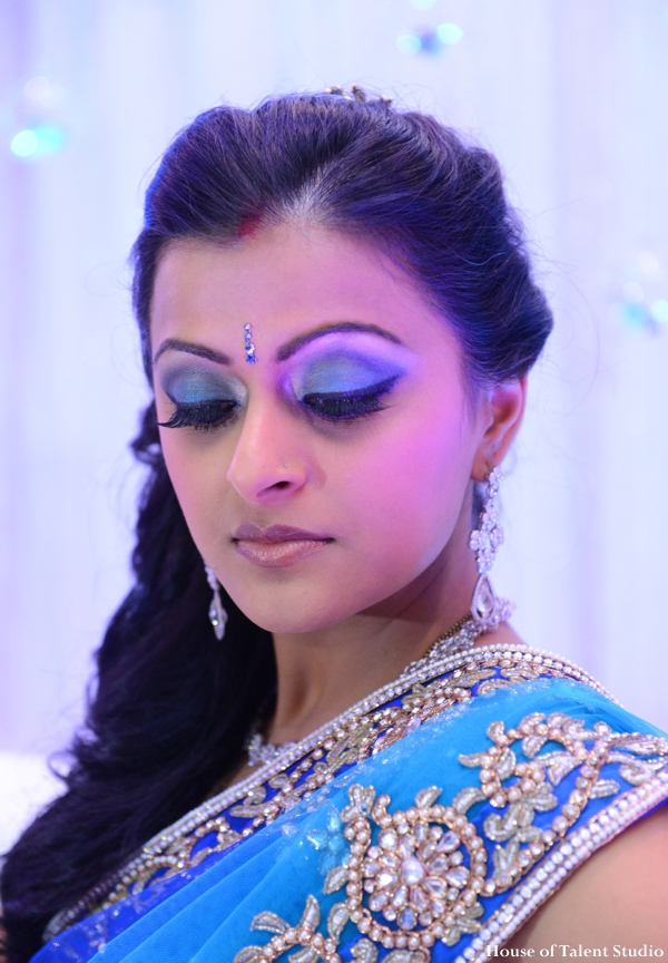 Indian wedding bride lengha makeup in Huntington, New York Indian Wedding by House of Talent Studio