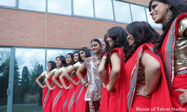 Indian wedding bride lenghas bridesmaids in Huntington, New York Indian Wedding by House of Talent Studio