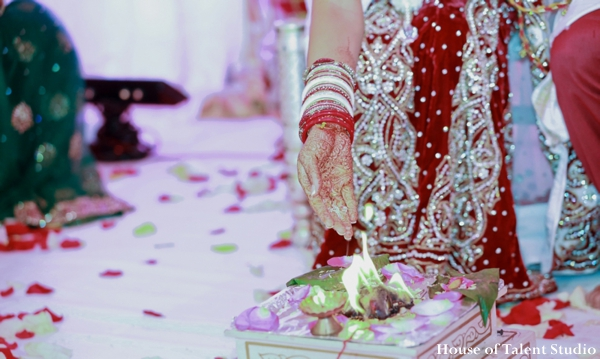 Indian wedding ceremony bridal lengha in Huntington, New York Indian Wedding by House of Talent Studio