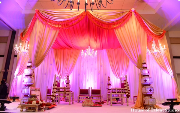 Indian wedding ceremony mandap fabric drapes in Huntington, New York Indian Wedding by House of Talent Studio