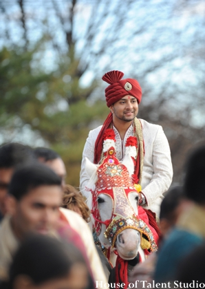 Indian wedding groom baraat horse in Huntington, New York Indian Wedding by House of Talent Studio