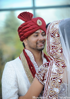 Indian wedding groom bride portraits lengha sherwani in Huntington, New York Indian Wedding by House of Talent Studio