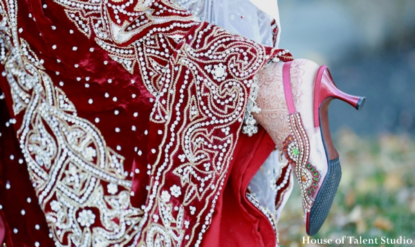 Indian wedding lengha bridal shoes in Huntington, New York Indian Wedding by House of Talent Studio