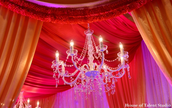 Indian wedding mandap decor chandlier fabric in Huntington, New York Indian Wedding by House of Talent Studio