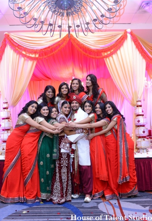 Indian wedding portrait friends family in Huntington, New York Indian Wedding by House of Talent Studio
