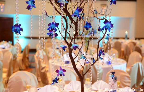 Featured Indian Weddings,blue,Floral & Decor,House of Talent Studio,indian wedding reception,floral and decor at reception,reception wedding decor