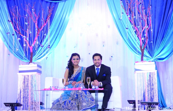 Indian wedding reception decor lighting bride groom in Huntington, New York Indian Wedding by House of Talent Studio