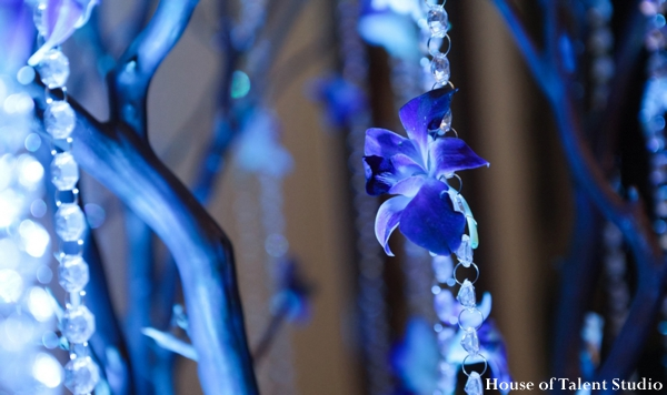 Indian wedding reception lighting decor blue in Huntington, New York Indian Wedding by House of Talent Studio