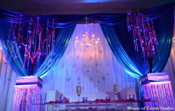Indian wedding reception lighting decor in Huntington, New York Indian Wedding by House of Talent Studio