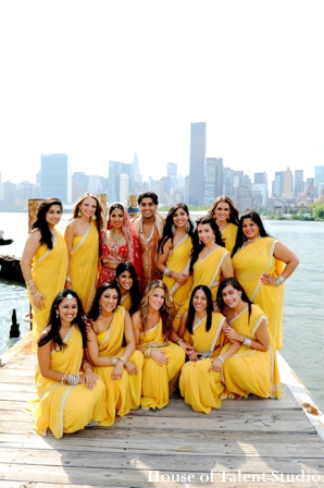 Indian-wedding-bridal-party-yellow-lenghas-portrait