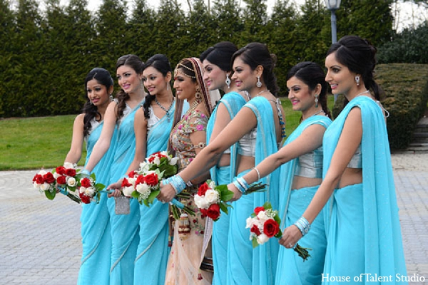 Indian wedding bridal party bride in Aberdeen, New Jersey Indian Wedding by House of Talent Studio