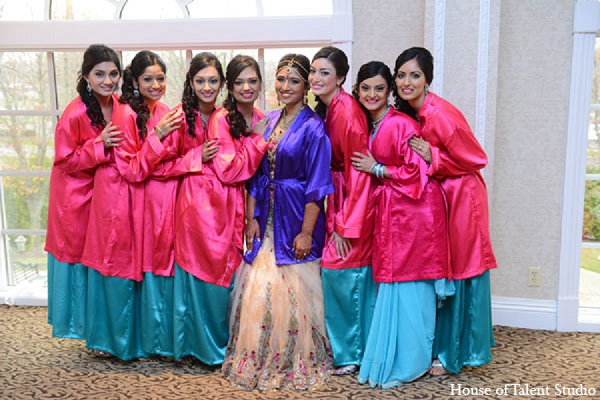 Indian wedding bride bridesmaids fashion in Aberdeen, New Jersey Indian Wedding by House of Talent Studio