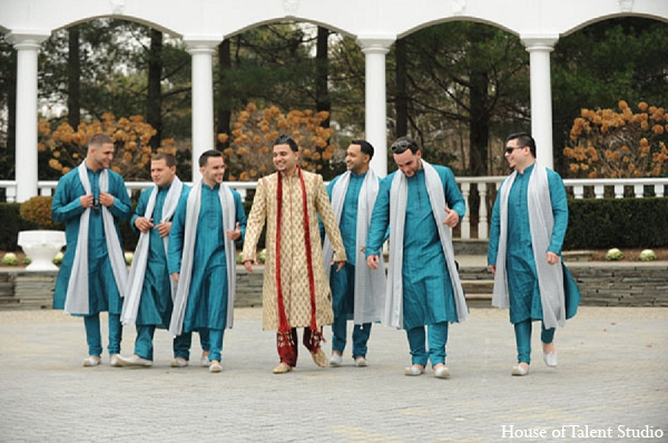 Indian wedding groom bridal party in Aberdeen, New Jersey Indian Wedding by House of Talent Studio