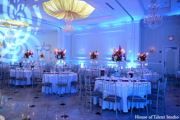 Indian wedding reception decor lighting in Aberdeen, New Jersey Indian Wedding by House of Talent Studio