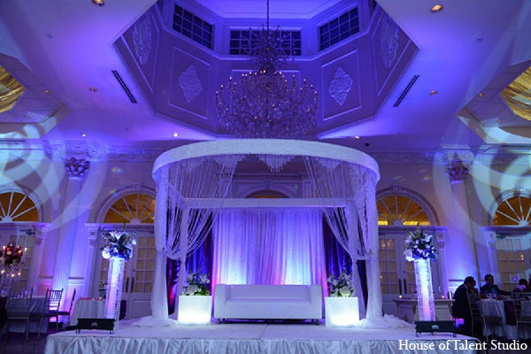 Indian wedding reception lighting decor in Aberdeen, New Jersey Indian Wedding by House of Talent Studio