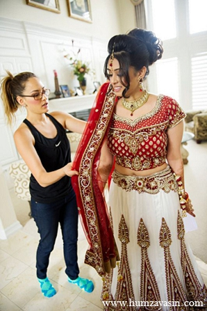 Indian wedding bridal outfit red white lengha bride hair in Temple, Texas Indian Wedding by Humza Yasin Photography