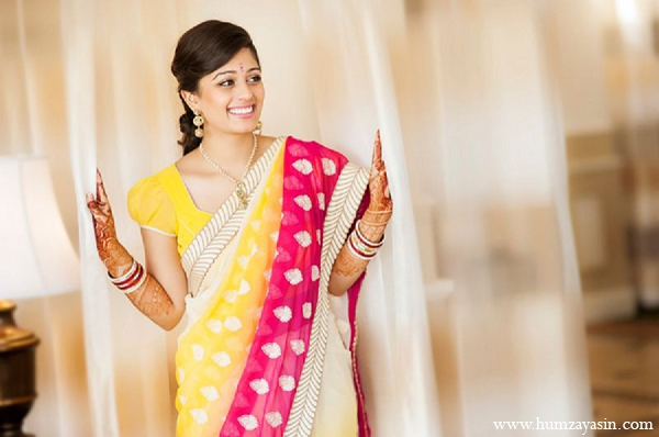 Indian-wedding-bridal-portrait-hot-pink-yellow-sari in Temple, Texas Indian Wedding by Humza Yasin Photography