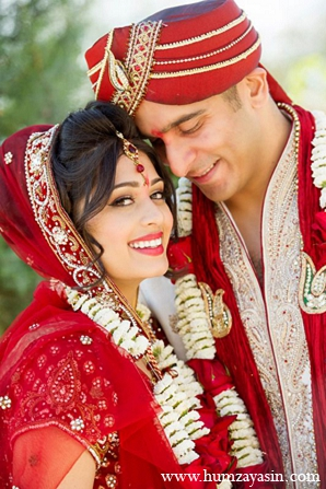 Indian wedding bride groom portraits red white outfits in Temple, Texas Indian Wedding by Humza Yasin Photography