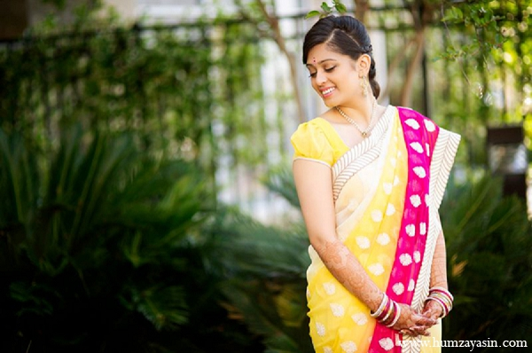 Indian wedding bride pithi outfit yellow sari portrait in Temple, Texas Indian Wedding by Humza Yasin Photography