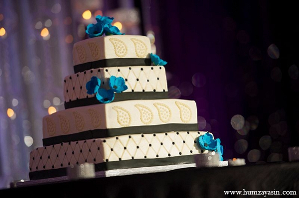 Indian wedding four tiered cake reception in Temple, Texas Indian Wedding by Humza Yasin Photography