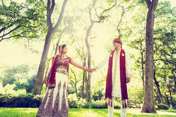 Indian wedding outdoor photography bride groom red white outfits in Temple, Texas Indian Wedding by Humza Yasin Photography
