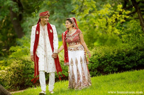 Indian wedding photography bride groom white red fashion outdoor in Temple, Texas Indian Wedding by Humza Yasin Photography