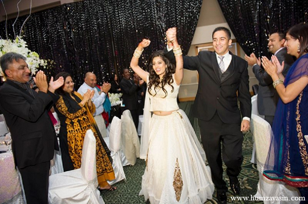 Indian wedding reception bride outfit groom white lengha in Temple, Texas Indian Wedding by Humza Yasin Photography
