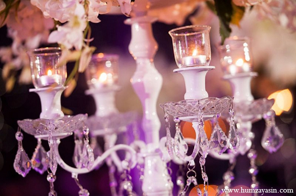 indian wedding reception decor white candles crystal
