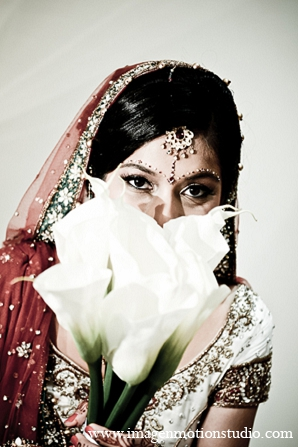 Indian wedding bridal bouquet flowers white in Houston, Texas Indian Wedding by Image N Motion Studio