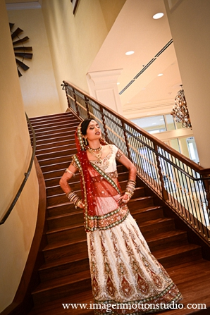 Indian wedding bride fashion ivory lengha portraits in Houston, Texas Indian Wedding by Image N Motion Studio