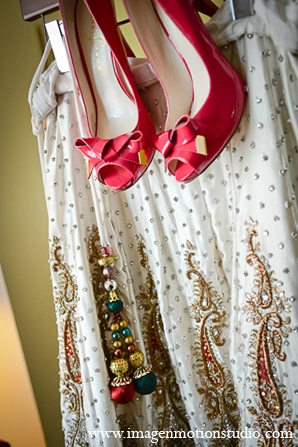 Indian wedding bride fashion red shoes ivory lengha in Houston, Texas Indian Wedding by Image N Motion Studio