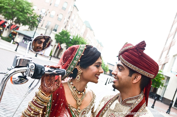 Indian wedding bride groom city portrait motorcycle in Houston, Texas Indian Wedding by Image N Motion Studio