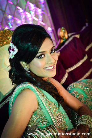 Indian wedding reception bride hair makeup fashion in Houston, Texas Indian Wedding by Image N Motion Studio