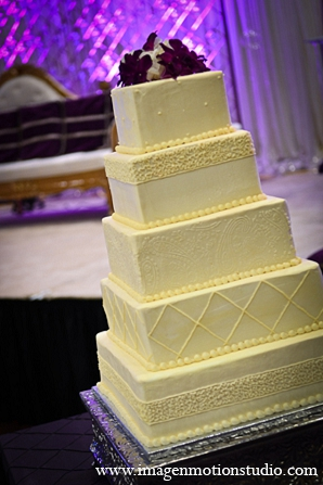Indian wedding reception cake ivory in Houston, Texas Indian Wedding by Image N Motion Studio