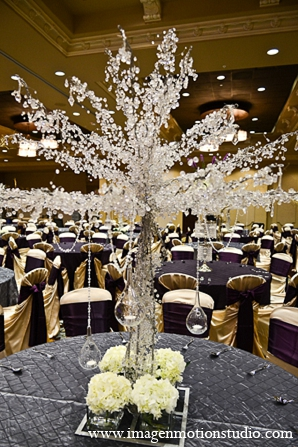 Indian wedding reception decor crystals centerpieces in Houston, Texas Indian Wedding by Image N Motion Studio