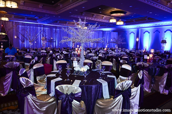 Indian wedding reception decor purple in Houston, Texas Indian Wedding by Image N Motion Studio