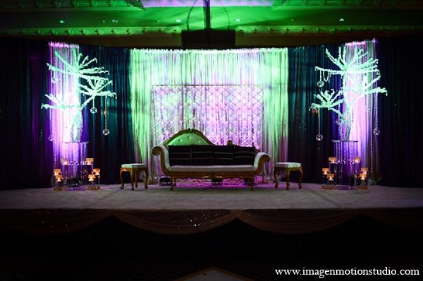 Indian Wedding Reception Decor Stage Purple Green Lighting